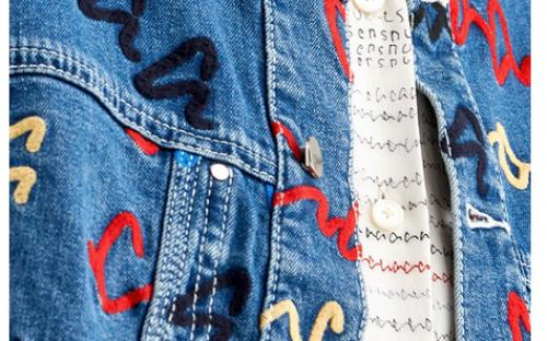 Denim Jacket With Scribble Print Embroidery