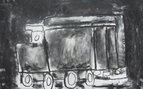 """La locomotive"", fusain, 50x70, 2013"