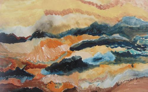 RV_Paysage bleu orange, acryl,50x70, 2016